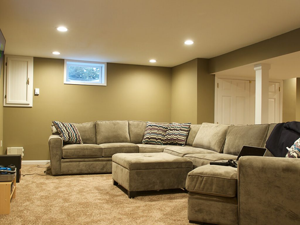 living area in finished living room