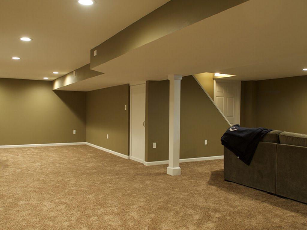 newly painted finished basement