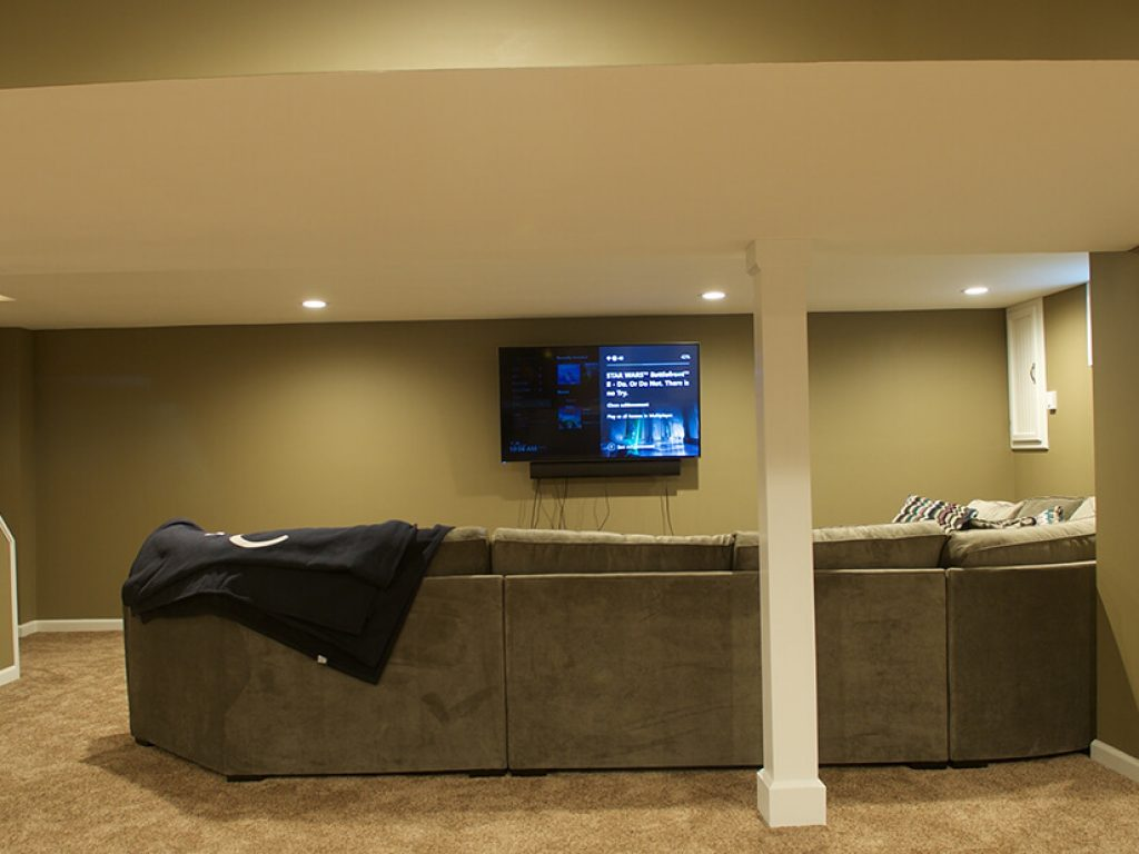 finished basement with new carpet